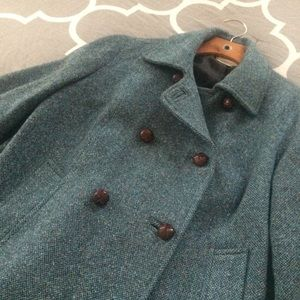 L.L. Bean Teal Wool Blend Coat